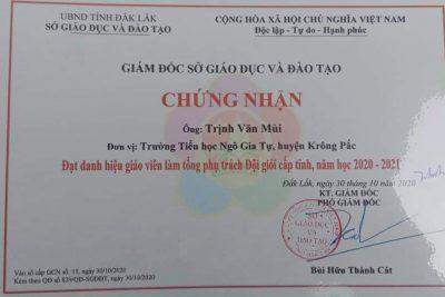 Chúc mừng thầy Trịnh Văn Mùi! Hoàn thành nhiệm vụ trong Hội thi giáo viên làm tổng phụ trách Đội giỏi cấp tỉnh , năm học 2019-2020