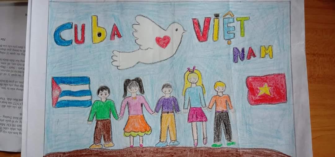 """Liên Đội Th Ngô Gia Tự đã tổ chức cuộc thi vẽ tranh thiếu nhi """" Việt Nam – Cuba thắm tình đoàn kết"""" kỷ niệm 60 năm ngày thiết lập quan hệ ngoại giao Việt Nam _ Cuba."""