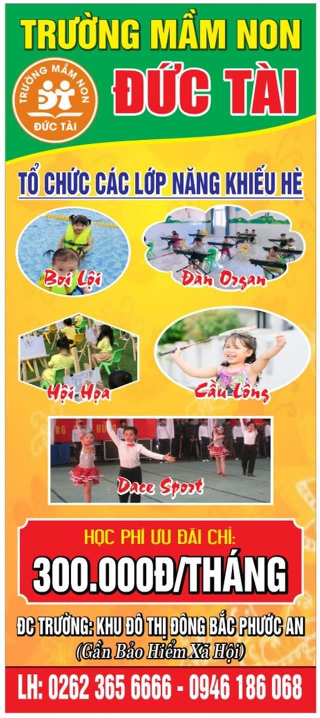 Sân chơi phát triển năng khiếu cho trẻ. Quý phụ huynh cho con trải nghiệm những điều tuyệt vời nhất trong mùa hè an toàn, lành mạnh, bổ ích tại trường Đức Tài ♥️♥️